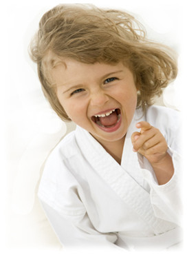 Happy little karate girl